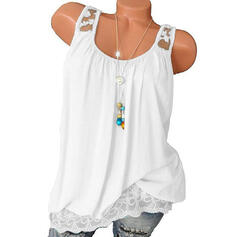 Solid Round Neck Sleeveless Casual Sexy Tank Tops