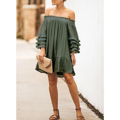 Solid Long Sleeves/Flare Sleeves Shift Above Knee Sexy/Casual Tunic Dresses