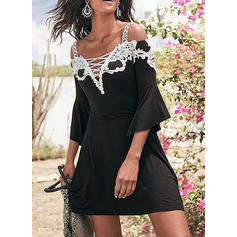 Lace/Patchwork Flare Sleeves/Cold Shoulder Sleeve A-line Above Knee Sexy/Casual/Vacation Dresses