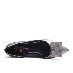 Women's Cloth Chunky Heel Pumps Closed Toe With Rhinestone shoes