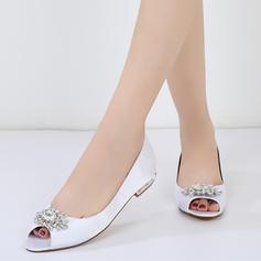Women's Silk Like Satin Flat Heel Flats Peep Toe With Buckle