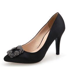 Kvinnor siden som satin Stilettklack Pumps med Strass skor