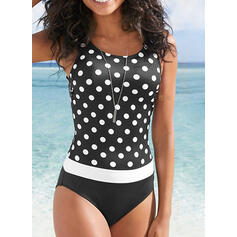 Dot Strap Round Neck Beautiful Casual One-piece Swimsuits