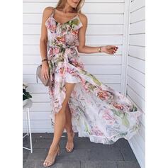 Print/Floral Sleeveless A-line/Asymmetrical Vacation Slip/Skater Dresses