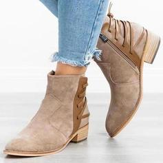 Femmes PU Talon bottier Escarpins Bout fermé Bottes avec Zip chaussures