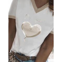 Coração Estampado lantejoulas Carta Decote em V Manga Curta Camisetas