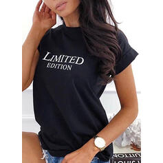 Print Letter Round Neck Short Sleeves T-shirts