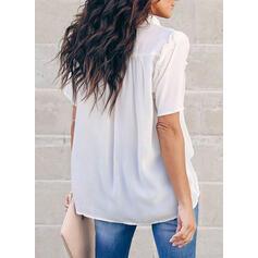 Solido Risvolto Maniche corte Bottone Casuale Shirt and Blouses