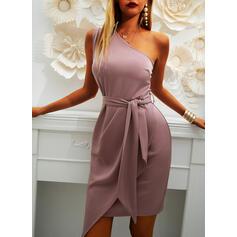 Jednolita Bez rękawów Pokrowiec Nad kolana Przyjęcie Sukienki