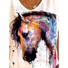Print Animal Round Neck Short Sleeves T-shirts
