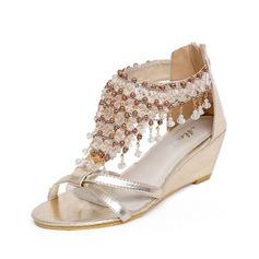 Vrouwen Kunstleer Wedge Heel Sandalen met Strass schoenen
