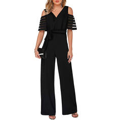 Solid Cold Shoulder Short Sleeves Elegant Party Jumpsuit