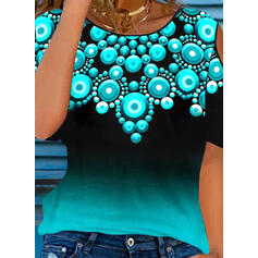 Gradient Print Cold Shoulder 1/2 Sleeves T-shirts