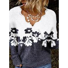 Impresión Bloque de Color Floral Cuello en V Casuales Suéteres