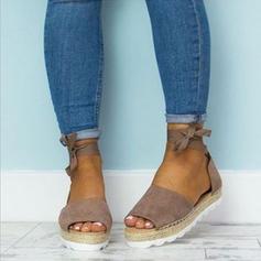 De mujer PU Tacón plano Sandalias Cuñas Encaje con Cordones zapatos