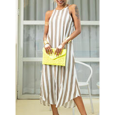 Striped Sleeveless Shift Tank Casual/Vacation Maxi Dresses