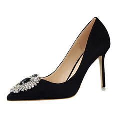 Women's Velvet Stiletto Heel Pumps Closed Toe With Rhinestone Others shoes
