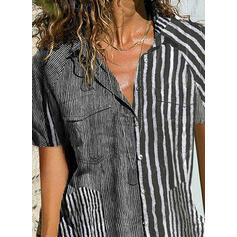 Print Striped Lapel Short Sleeves Button Up Casual Shirt Blouses