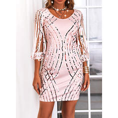 Print Sequins 3/4 Sleeves Slit Sleeve Sheath Above Knee Casual Dresses