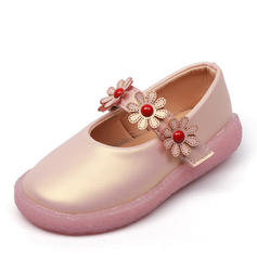 Girl's Leatherette Flat Heel Round Toe Flats Flower Girl Shoes With Beading Velcro Flower