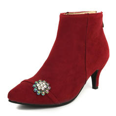 Femmes Suède Talon stiletto Bottes Bottines avec Strass chaussures