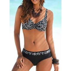 Print Strapless Fashionable Bohemian Bikinis Swimsuits