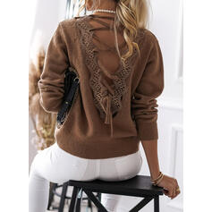Solid Lace V-Neck Sexy Sweaters
