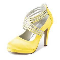 Women's Satin Cone Heel Closed Toe Platform Pumps With Rhinestone Zipper