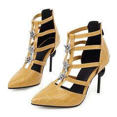 Vrouwen Kunstleer Stiletto Heel Pumps met Strass Rits schoenen