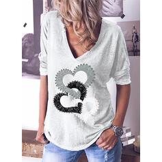 Print Heart V-Neck Long Sleeves Casual T-shirts
