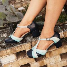 Femmes PU Talon bottier Escarpins Bout fermé Bout carré avec Boucle chaussures