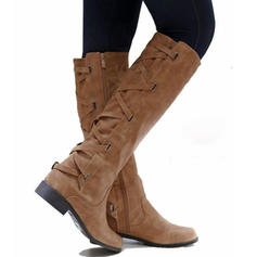 Women's PU Low Heel Knee High Boots With Zipper Lace-up shoes