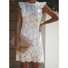 Lace/Solid Short Sleeves Sheath Above Knee Party/Elegant Dresses