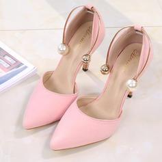 De mujer Ante Tacón stilettos Sandalias Cerrados con Perlas de imitación zapatos