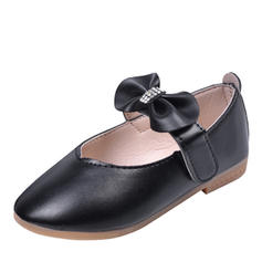 Jentas Leather Round Toe Lukket Tå Flate sko Flower Girl Shoes med Bowknot Velcro