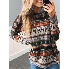 Print Long Sleeves Christmas Sweatshirt