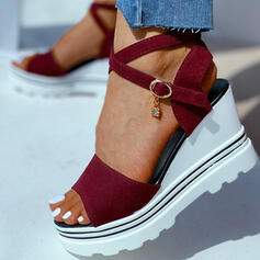 Women's Leatherette Wedge Heel Sandals Wedges Peep Toe Heels With Lace-up shoes