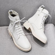 Women's Leatherette Low Heel Boots Mid-Calf Boots Martin Boots Riding Boots With Zipper Lace-up shoes