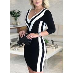 Color Block 3/4 Sleeves Bodycon Knee Length Casual/Elegant Pencil Dresses