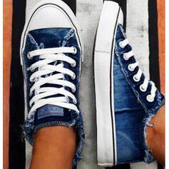 Donna Tela Senza tacco Ballerine Top basso espadrille Sneakers con Allacciato scarpe