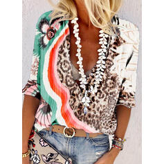 Print Leopard V-Neck 1/2 Sleeves Casual Blouses