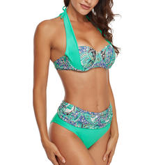 Floral Halter Fashionable Plus Size Bikinis Swimsuits
