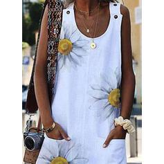 Print/Floral Sleeveless Sheath Knee Length Casual Dresses