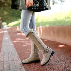Women's PU Low Heel Knee High Boots Snow Boots With Buckle shoes