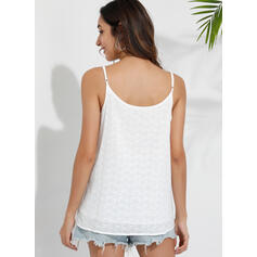 Hollow-out Solid Spaghetti Straps Sleeveless Tank Tops