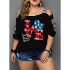 Print Cold Shoulder 1/2 Sleeves Casual Plus Size T-shirts