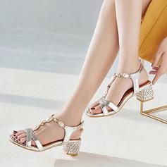 Women's PU Chunky Heel Sandals Peep Toe With Imitation Pearl Buckle Jewelry Heel shoes