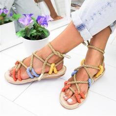 Dla kobiet Tkanina Płaski Obcas Sandały Plaskie Z Plecione Ramiączko obuwie