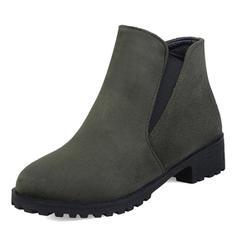 Femmes Suède Talon bas Bottes Bottes mi-mollets avec Bande élastique chaussures