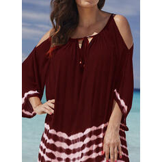 Tie Dye 3/4 Sleeves Shift Above Knee Casual/Vacation Tunic Dresses
